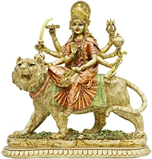 Hindu Goddess Lord Durga Statue - India God Murti Idol Home Temple Puja Sculpture - Indian Diwali Day Mandir Pooja Decoration