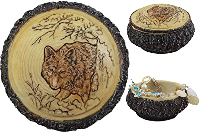 Rustic American Bald Eagle Swooping Descent Rounded Jewelry Trinket Box Figurine