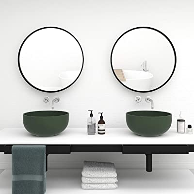 QLMUSE Round Mirrors for Wall Decor with Metal Frame Decorative Circle Mirror for Vanity Bathroom Entryways Living Room Bedroom Wall Mounted (24in, Black)