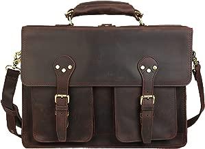 Polare 16'' Full Grain Leather Briefcase Messenger Bag Laptop Satchel for Men