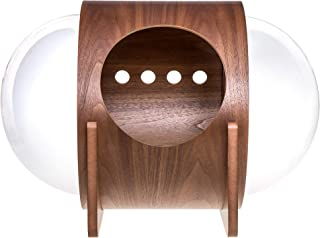 MYZOO Spaceship Alpha, Warm and Cozy Pet Bed for Cat & Dog, Designed Furniture, Made of Wood (Walnut)