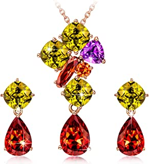 QIANSE Mothers Day Jewelry Set Gifts Multicolor Cubic Zirconia Jewelry Set Rose Gold Plated Flower Set