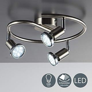 Lámpara de techo con focos giratoria incl. 3 x 3W bombillas LED GU10 I Aplique de salón I luz blanco cálido 3000K I IP20 I 250lm I níqul mate I 3 Focos