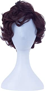 Angelaicos Men's Short Curly Brown Black Wig Halloween Costume Cosplay Party Fluffy Wigs (Brown)