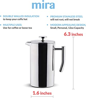 MIRA 12 oz Stainless Steel French Press Coffee Maker | Double Walled Insulated Coffee & Tea Brewer Pot & Maker | Keep
