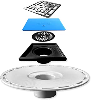 Square Shower Drain Kit with Stainless Steel Grate,...