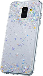 JAWSEU Kompatibel med Samsung Galaxy A8 2018 fodral bling, glitter glittrande stjärnor design mjuk smal TPU silikon gel gu...