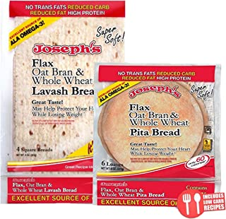 Value Bundle: Joseph's Lavash Bread and Pita, Flax Oat Bran & Whole Wheat Reduced Carb