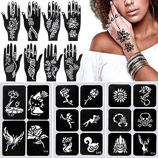 HNYYZL 19 Sheets Temporary Tattoos Stencils and Henna Tattoo Stencil Templates Indian Arabian Self Adhesive Tattoo Sticker, for Adults Kids Teenager
