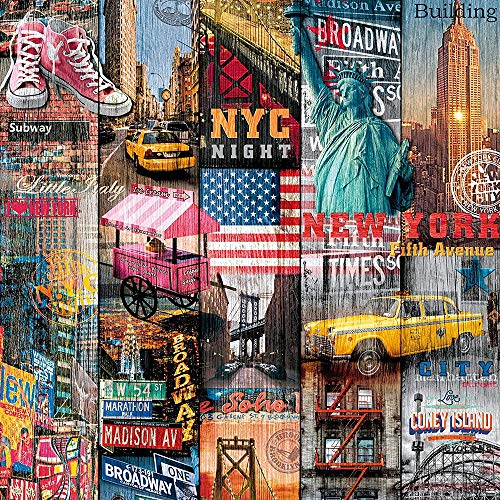 Fashona (7,40 €/m²) d-c-fix Verschiedene Dekore/Muster/Motive/Bilder/Maße Selbstklebende Folie Möbel Küche Tür Deko Klebefolie (New York Manhattan, 200 x 67,5cm)
