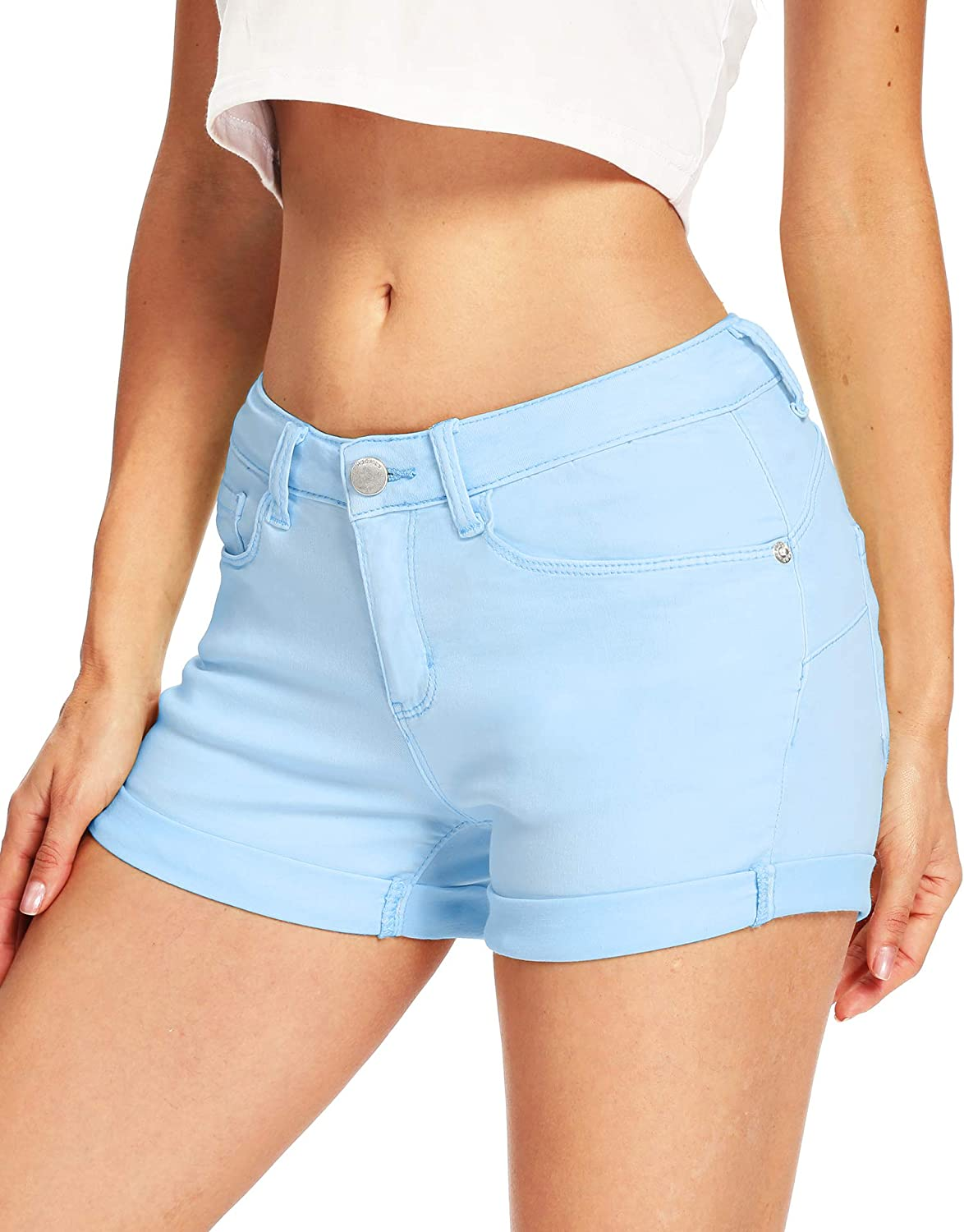 DYLISEA Women's High Waisted Shorts for Summer Sexy Stretchy Denim Casual Junior Shorts Jeans with Pockets
