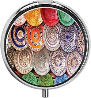HOOSUNFlagrbfa Traditional Handcrafted Colorful Plates Shot at The Market in Marrakesh Pill Case Round Tablet Medicine Pocket Purse Travel Pill Box Holder