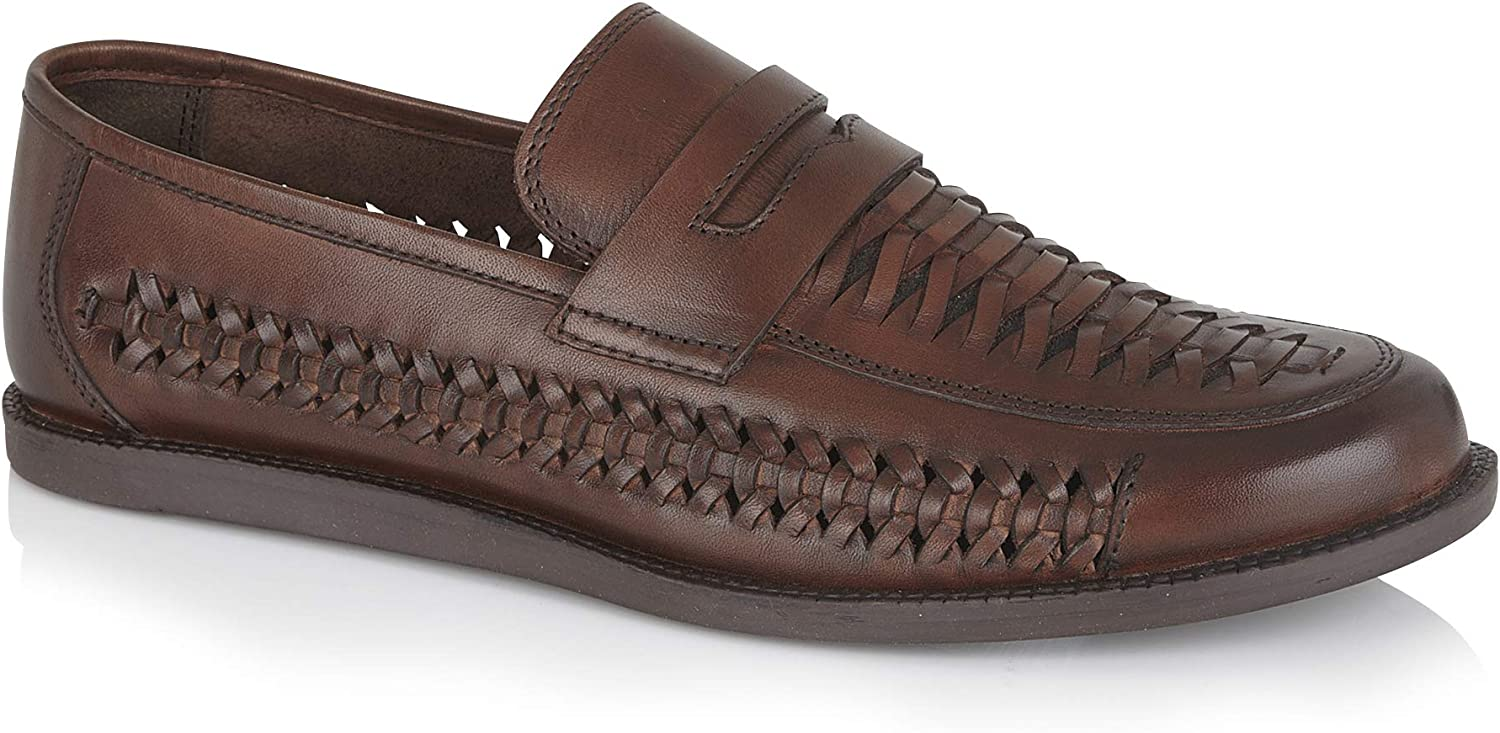 Silver Street Othello Mens Casual Dressy Smart Casual Leather Brown Tan Slip on Loafers in Sizes 7-12