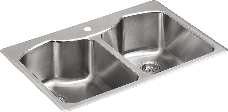 KOHLER K-3842-1-NA Octave Top-Mount Kitchen Spasm price Si Double-Equal Bowl Recommendation