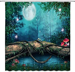 AMNYSF Enchanted Pond Decor Shower Curtain Fantasy Fairy Tale Forest Red Mushroom Green Plants Leaves Meadow Tree Log Moon Blue Fabric Bathroom Curtains,70x70 Inch Waterproof Polyester with Hooks