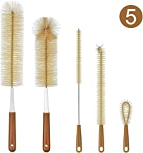 ALINK 5-Pack Bottle Brush Cleaner - Long Bamboo Handle Water Bottle Straw Cleaning Brush for Washing Narrow Neck Beer Wine Decanter, Baby/Sports Bottle, Kombucha,Thermos, Contigo, HydroFlask