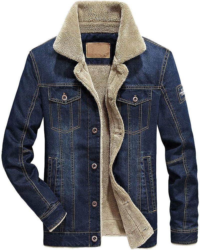 MmNote Men's Denim Fleece Jacket Winter Lapel Button Down Fur Collar Thicken Denim Jean Jacket Coat