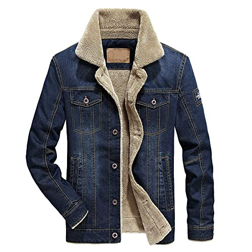 e8860701f7bb MIRRAY Fashion Men's Jean Coats Mens Autumn Winter Blue Warm Fleece Jackets  Casual Turn-Down