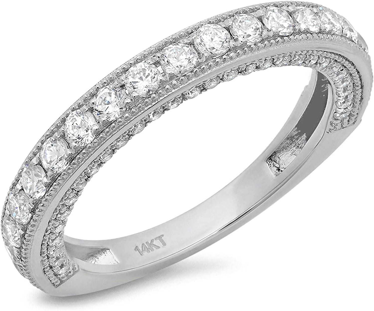 1.2 Ct Round Cut Pave Set Promise Wedding Bridal Eternity Engagement Anniversary Band Ring 14K White Gold, Clara Pucci