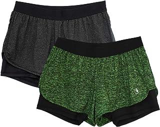 icyzone 2 in 1 Pantaloncini Sportivi da Donna per Correre Calzoncini Fitness Yoga Pantaloncini(Pacco da 2)