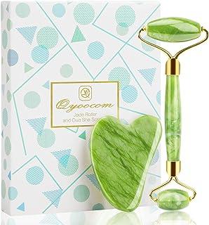 Jade Face Roller Gua Sha Massage Tool Set-Natural Jade Stone Slimming Massager for Eye and Facial Skin Care