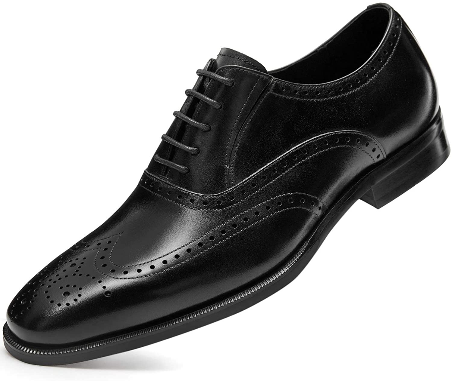 Amazon.com | FRASOICUS Men's Dress Shoes with Genuine Leather in Classic  Brogue Elastic Band Oxford Formal Shoes for Men | Oxfords
