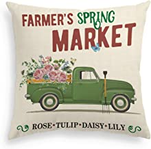 AVOIN Easter Farm Spring Market Pillow Cover Truck Loads of Flower Rose Tulip Daisy Lily Linen Decorative Throw Pillowcase, 18 x 18 Inch Cute Farmhouse Cushion Cover for Sofa Couch