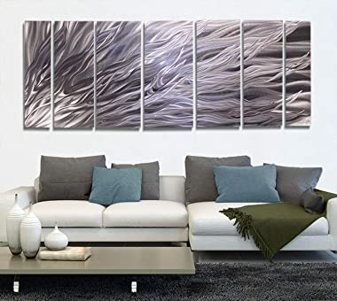 Statements2000Abstract Extra Large Metal Wall Art Hanging Panels Sculpture Indoor/Outdoor Decor by Jon Allen, Silver, 96&#34