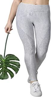 Nikibiki Women's Plus Size Vintage Dye Biker Leggings for Soft Seamless Premium Yoga Athleisure Everyday Pants - Made in USA