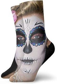 Attractive Woman Sugar Skull Make Isolated Crew Socks for Men - Men's Sport Socks - Athletic Socks