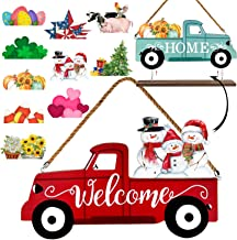 Winder Truck Welcome Sign & Home Sign, 2-Side Red Truck Christmas Decor Signs with 10..