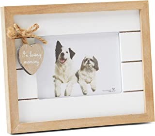 Orchid Valley Rustic Wood Pet Memorial Photo Frame with in Loving Memory Heart Embellishment Landscape Orientation (Landscape)