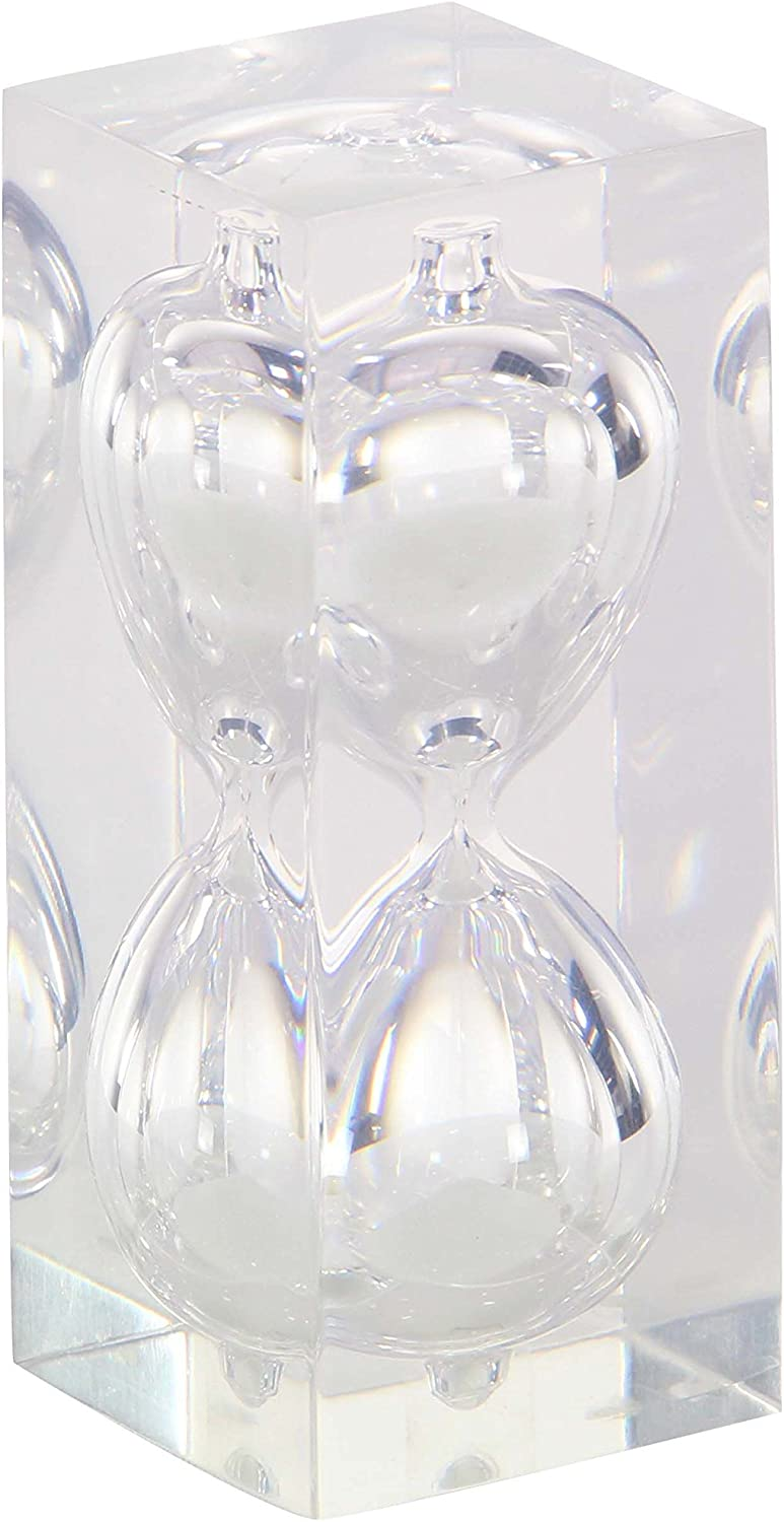 Deco 79 53432 Resin and Glass 15 Minute Sand Timer 6 x 2 Clear//Gold