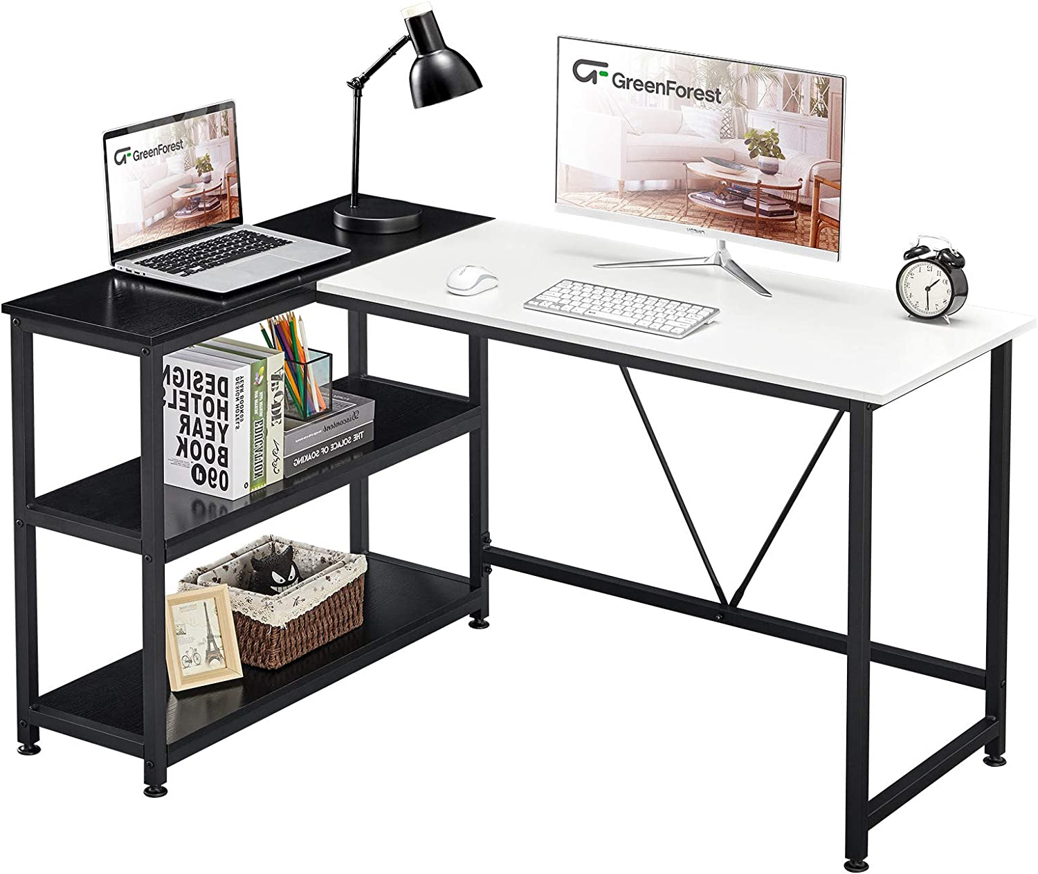 GreenForest L Shaped Desk 51x35.4 inch Corner Computer Desk with Reversible Storage Shelf Saving Space Gaming Desk Study Writing Table for Home Office Workstation Laptop Table, White and Black