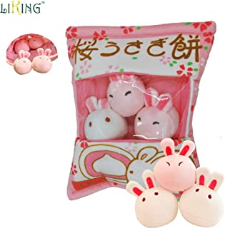liking Pudding Pillow Stuffed 3pcs Chickens Japanese Snack Pillow Ins Popular Pudding Pillow Bag for Mobile Wallet (Pudding Pillow Rabbit)