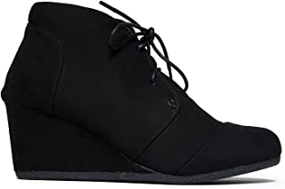 Women's Booties Comfortable Suede Wedges Lace Up Ankle Booties for Women