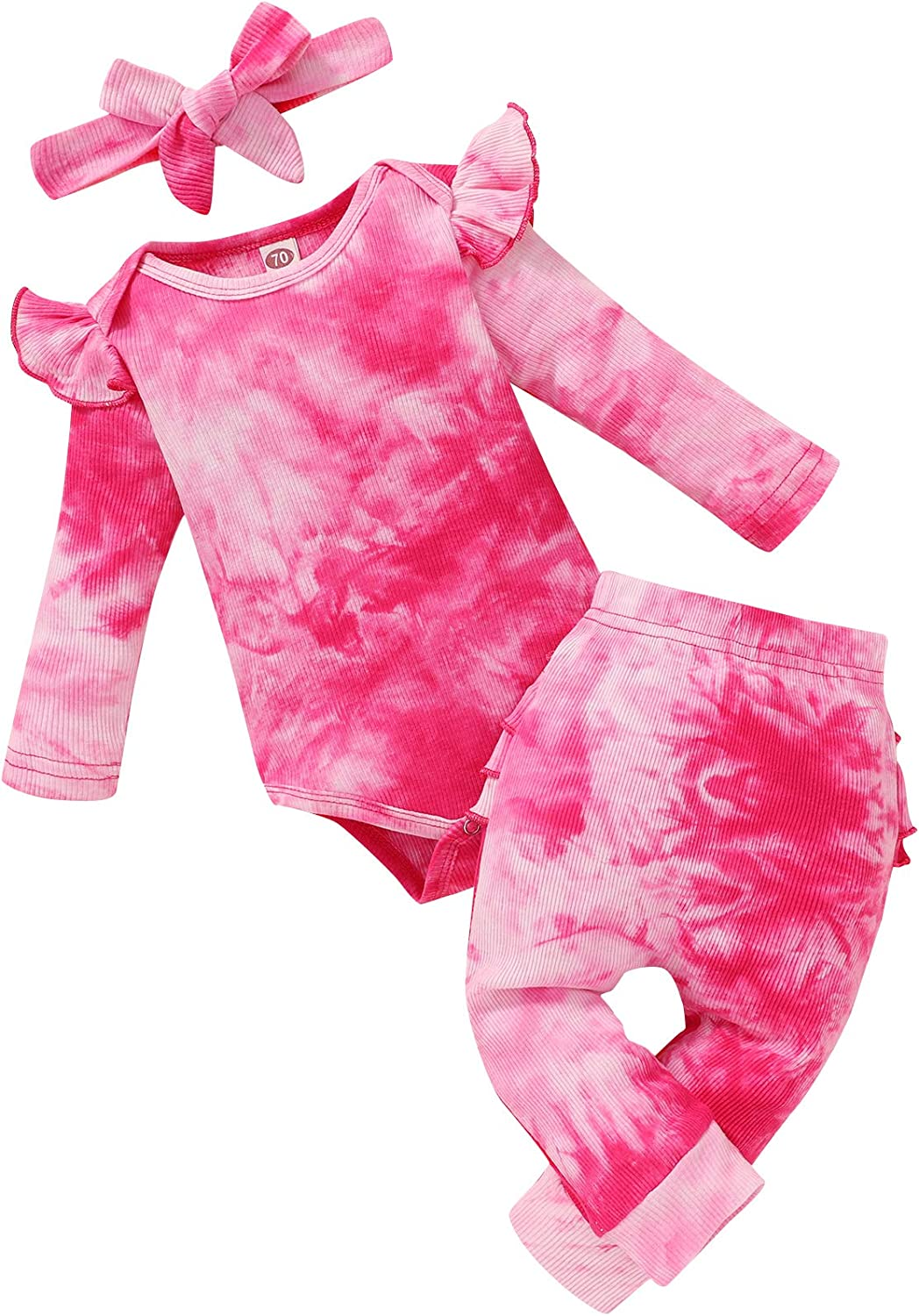 Baby Girl Tie-dye Clothes Long Sleeve Romper Tops Pants with Headband 3Pcs Toddler Infant Fall Winter Outfits Set