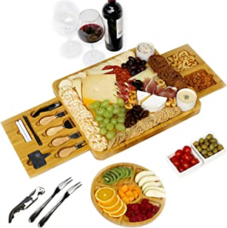 Unique Cheese Board with Cutlery Set and Fruit Tray, Charcuterie Platter Perfect as House Warming Present, Birthday Presen...