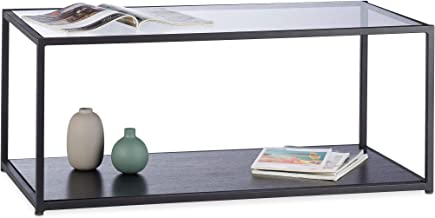 Relaxdays Coffee, Rectangular, Metal Frame, Glass Tabletop, Tray, Living Room Side Table, Black, HxWxD: 42 x 100 x 50 cm