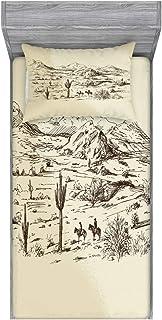 Ambesonne Western Fitted Sheet & Pillow Sham Set, Wild West Landscape Illustration Mountains Desert Plants Cowboys on Hors...