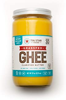 100% Grassfed Ghee by Tin Star Foods (29 OZ): Clarified Butter | Keto and Whole 30 Approved | Lactose-Free