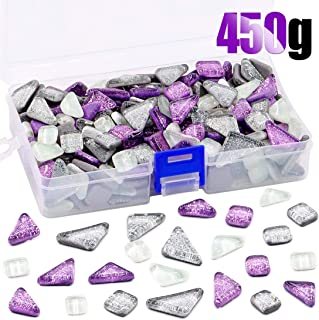 Swpeet 1 Pound Sliver + Purple Shine Crystal Series Mosaic Tiles Assortment Kit, Square and Triangle Genuine Mosaic Tiles Glitter Crystal Mosaic Perfect for Home Decoration Crafts - Mosaic Tiles K
