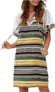 Oldlover Shift Dresses for Women Casual Summer Lace Patchwork Dresses Ethnic Print Bohemian Dress Short Sleeve Sundress