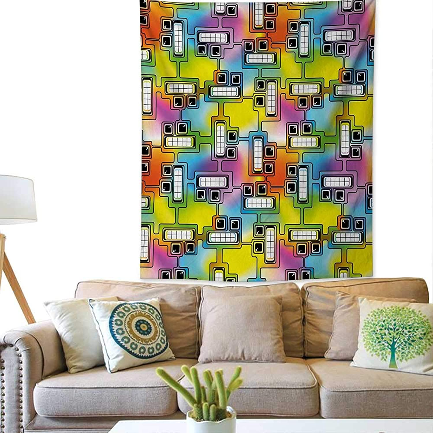 Bybyhome colorfulBedroom tapestryHippie Digital Fun Characters with Eyes and Teeth Video Games Artwork PatternTapestry Throwing Blanket 57W x 74L INCHMulticolor