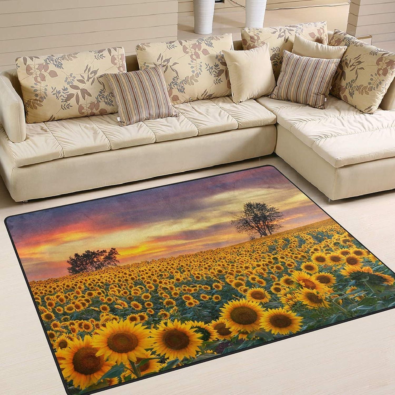 Sunflower Field Sunset Landscape Nature Area Floor Mat Rug Indoor Front Door Kitchen and Living Room Bedroom Mats Rubber Non Slip