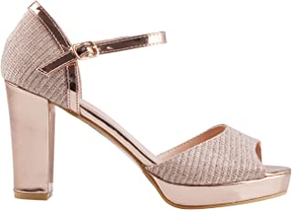 659a3a1afc580 Women Open Toe Sandals Ladies Metallic Platform Block High Heels Shoes Party