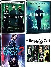 The Keanu Reeves Fanatic Collection: The Matrix Trilogy + John Wick 1-2 DVD Bundle + Bonus Art Card