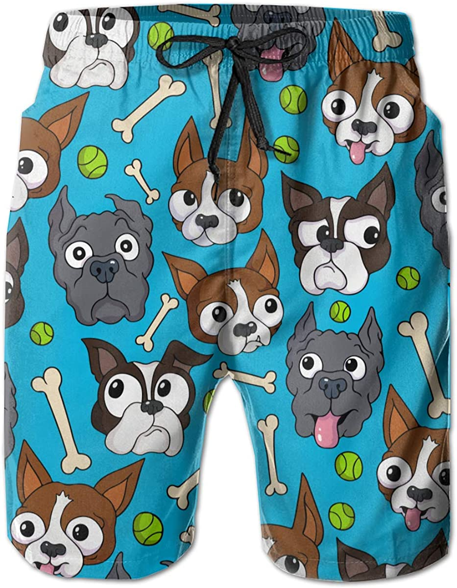 HZamora_H Mens Duke Blue Biggie Dogs Summer Breathable Quick-Drying Swim Trunks Beach Shorts Board Shorts M