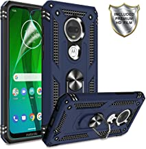 Gritup Moto G7 Phone Case,Moto G7 Plus Cases with HD Screen Protector, 360 Degree Rotating Metal Ring Holder Kickstand Armor Anti-Scratch Bracket Cover Phone Case for Motorola Moto G7 Blue