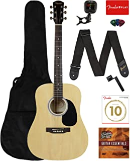 Fender Squier Dreadnought Acoustic Guitar - Natural Learn-to-Play Bundle with Gig Bag, Tuner, Strap, Strings, Picks, String Winder, Fender Play, and Austin Bazaar Instructional DVD